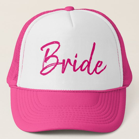 Chic Bride Hot Pink and White Trucker Hat