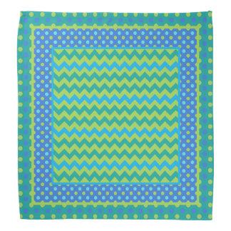 Chic Bright Blue Green Polka Dots Chevrons Bandana