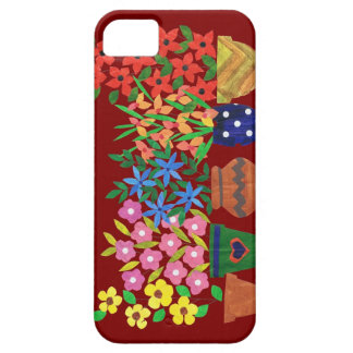 Chic Bright Collage Flowers on Maroon Barely There iPhone 5 Case