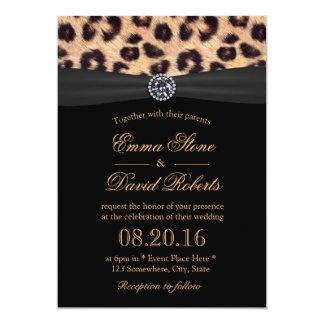 Chic Bright Diamond & Leopard Print Wedding 13 Cm X 18 Cm Invitation Card