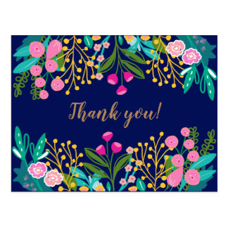 Chic Bright Floral Thank You Postcard