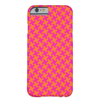 Chic Bright Orange Shocking Pink Dogtooth Pattern Barely There iPhone 6 Case