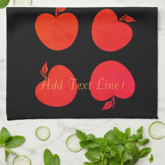 Chic Bright Red Apples Personalized Black  Towel
