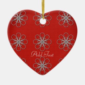 Chic Bright Red Pattern Add Text Add Photo Christmas Ornament