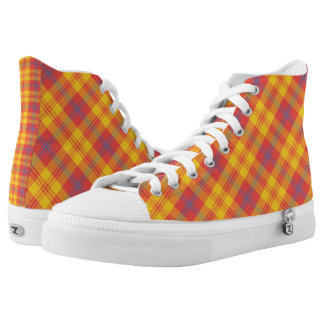 Chic Bright Red, Yellow and Blue Madras Check Printed Shoes