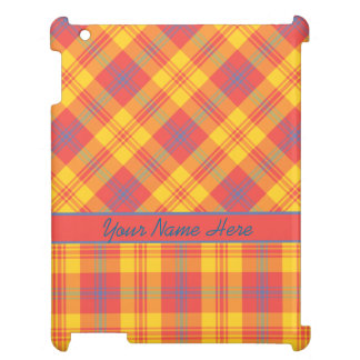 Chic Bright Red, Yellow and Blue Plaid iPad Case