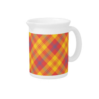 Chic Bright Red Yellow and Blue Plaid Pitcher, Jug Pitcher