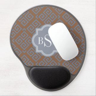 Chic brown abstract geometric pattern monogram gel mouse pad