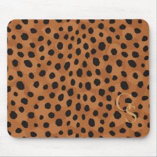Chic brown cheetah print monogram mousepads