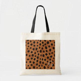 Chic brown cheetah print monogram tote bag