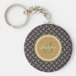 Chic brown greek key geometric patterns monogram basic round button key ring