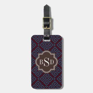 Chic brown greek key geometric patterns monogram luggage tag