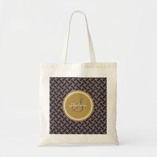 Chic brown greek key geometric patterns monogram budget tote bag
