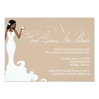 """Chic Brown Here Comes the Bride Shower Invite 5"""" X 7"""" Invitation Card"""