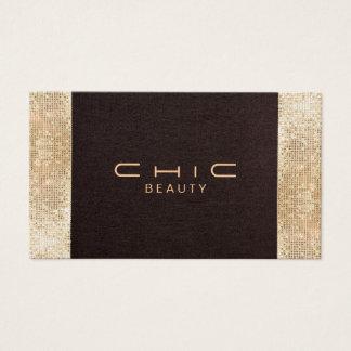 Chic Brown Linen Gold Sequin Look Pearl Cardstock