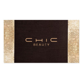 Chic Brown Linen Gold Sequin Look Pearl Cardstock Pack Of Standard Business Cards