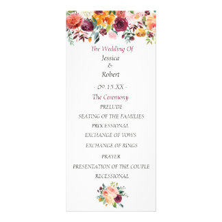 Chic Burgundy Floral Wedding Program Rack Card Template