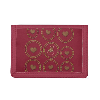 Chic Burgundy Gold Copper Heart Wallet