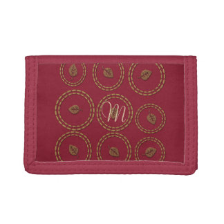 Chic Burgundy Gold Copper Leaf Wallet