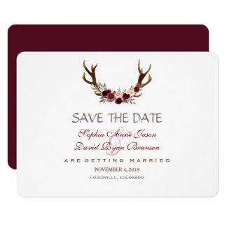 Chic Burgundy Marsala Floral Antlers Save The Date Card