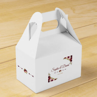 Chic Burgundy Marsala Floral Fall Wedding Favour Box