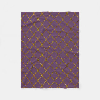 Chic Burgundy Quatrefoil Gold Glitter Photo Print Fleece Blanket