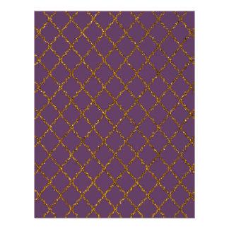 Chic Burgundy Quatrefoil Gold Glitter Photo Print Flyer