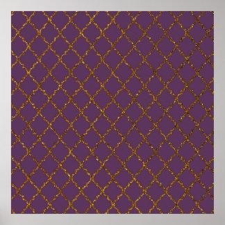 Chic Burgundy Quatrefoil Gold Glitter Photo Print