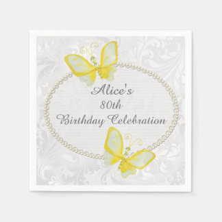 Chic Butterflies Damask 80th Birthday Personalized Disposable Napkin