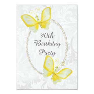 Chic Butterflies Damask 90th Birthday Double Sided 13 Cm X 18 Cm Invitation Card