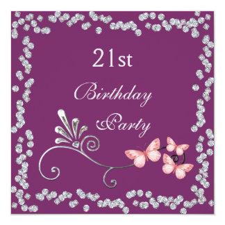 Chic Butterflies & Diamonds 21st Birthday 13 Cm X 13 Cm Square Invitation Card