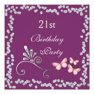 Chic Butterflies & Diamonds 21st Birthday Card