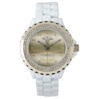 Chic Caduceus Symbol | RN Nurses Nursing Gold Glam Wristwatches