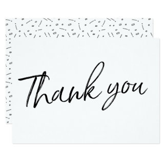 "Chic Calligraphy Hand Lettered Wedding ""Thank you"" Card"