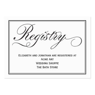 Chic Calligraphy Script Wedding Registry Card Pack Of Chubby Business Cards