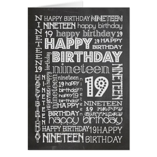 Chic Chalkboard Age-specific 19th Birthday Card