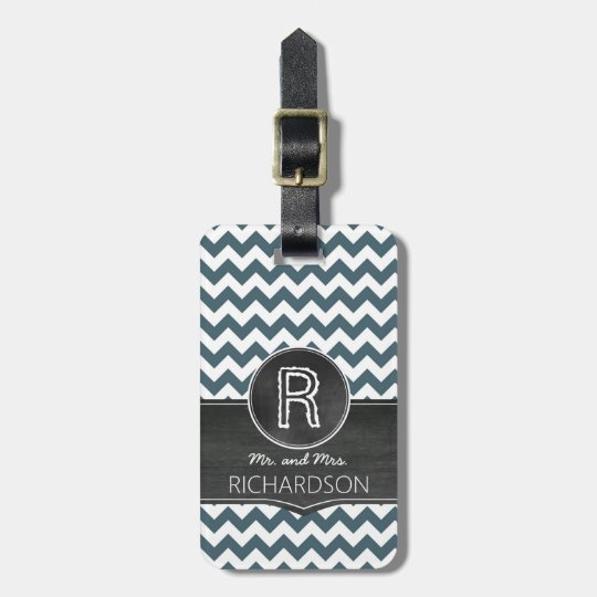 Chic Chalkboard Monogram Mr and Mrs Luggage Tag