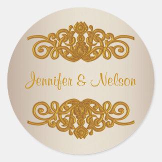 Chic Champagne & Gold Tone Wedding Envelope Seal Round Sticker