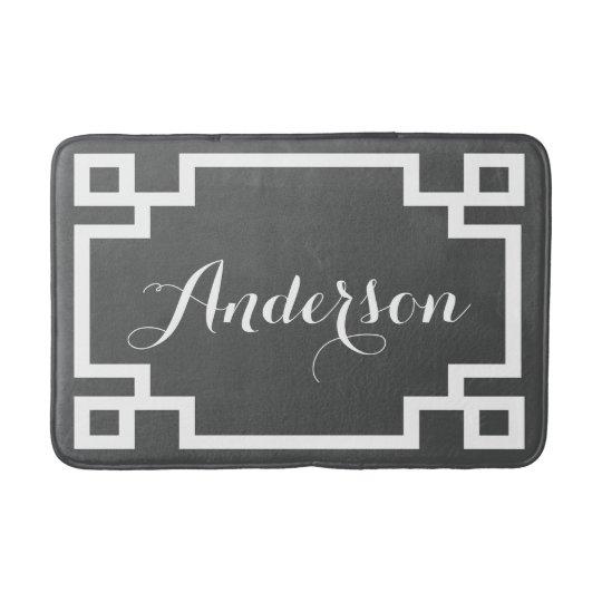 Chic Charcoal and White Greek Key Custom Monogram