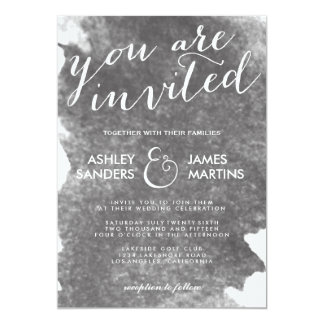 CHIC CHARCOAL WATERCOLOR WEDDING INVITATION