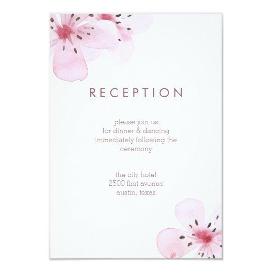 Chic Cherry Blossoms Wedding Reception Card