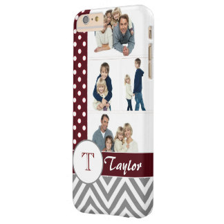 Chic Chevron & Dots Photo Collage w/Custom Name Barely There iPhone 6 Plus Case