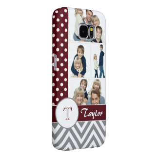 Chic Chevron & Dots Photo Collage w/Custom Name Samsung Galaxy S6 Cases