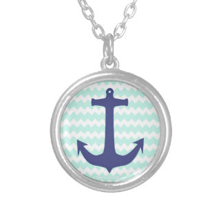 Chic Chevron Mint Blue Anchor Necklace