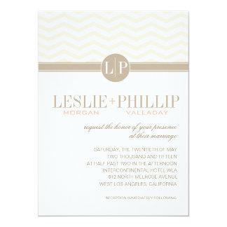 Chic Chevron Monogram | blush Wedding 14 Cm X 19 Cm Invitation Card