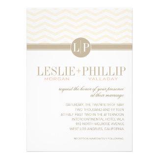Chic Chevron Monogram blush Wedding Personalized Invitations
