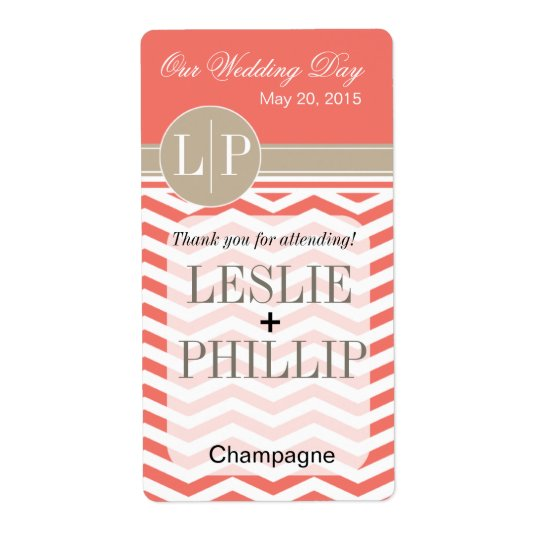 Chic Chevron Monogram | coral Wine/Champagne Label