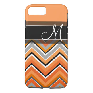 Chic Chevron Pattern Black Gray Orange Monogram iPhone 8 Plus/7 Plus Case