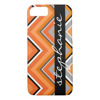 Chic Chevron Pattern Black Gray Orange with Name iPhone 8/7 Case