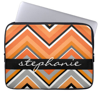 Chic Chevron Pattern Black Gray Orange with Name Laptop Sleeve